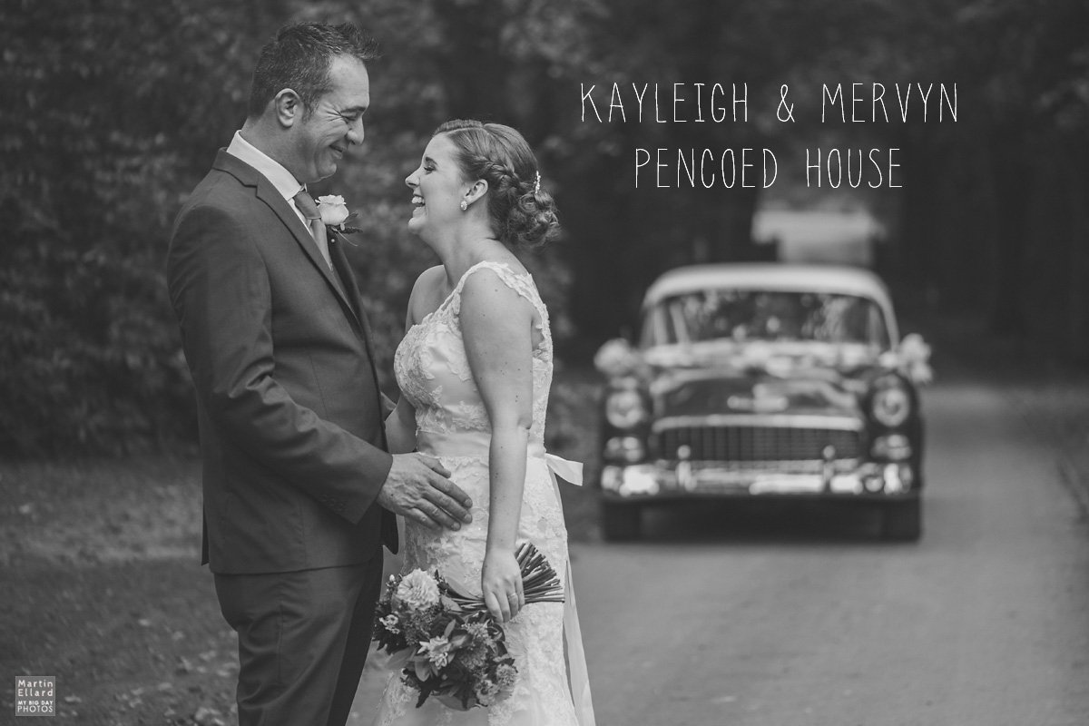 wedding couple with a vintage car at Pencoed House Cardiff