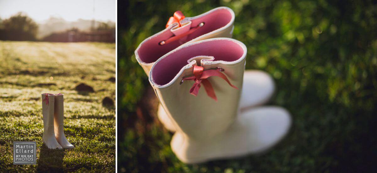 wet wedding in Wales pink wellies